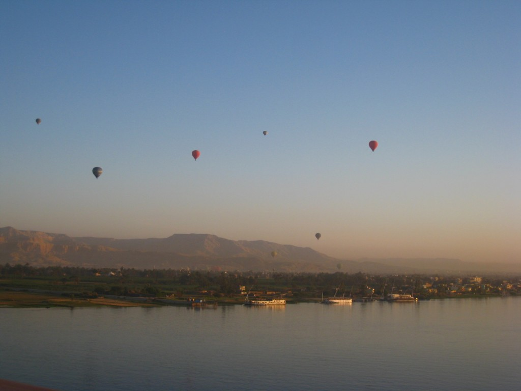 Hot air balloon over the Nile River near Luxor, Egypt