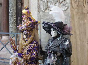 Fancy dress and masks characterize the Carnivale of Venice.